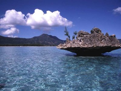The clear, blue waters of Mauritius