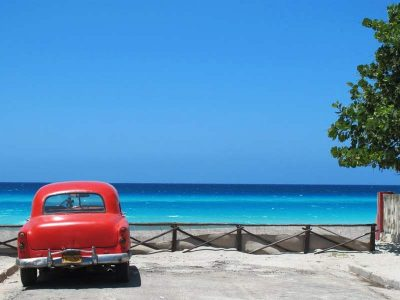 Classic car on the seafront of Varadero