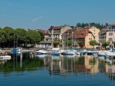 Small port in the lake of Lausanne, Switzerland.