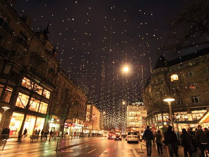 Christmas decorations, Zurich, Switzerland