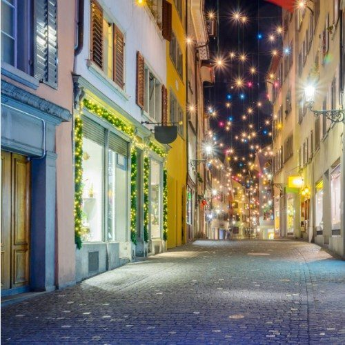 Christmas decorations, old town of Zurich, Switzerland