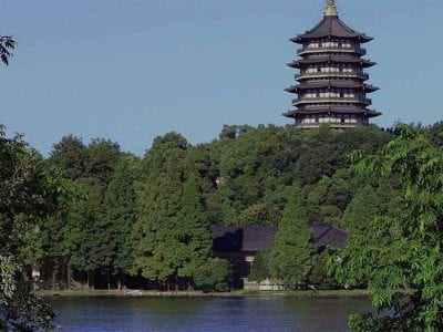 Leifeng Pagoda is a five-storey tower with eight sides, located on Sunset Hill south of the West Lake in Hangzhou, China.