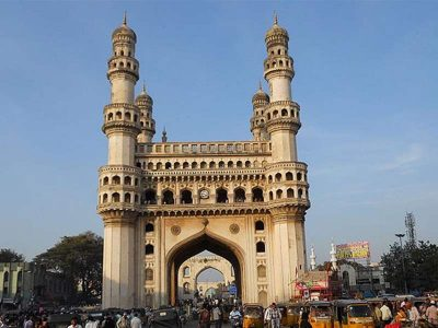 The Charminar in the city of Hyderabad, India