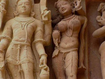 Sculptures of Khajuraho Temples, India.