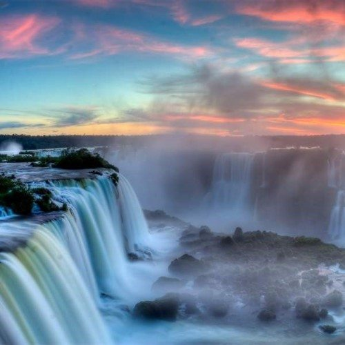 Iguassu falls stunning spectacle of nature, Brazil.