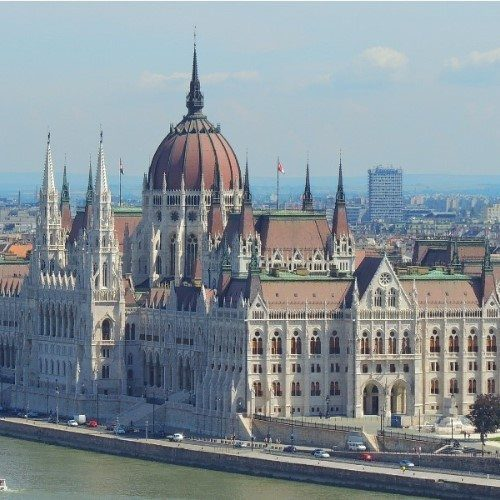 Imposing parliament building, Budapest, Hungary.