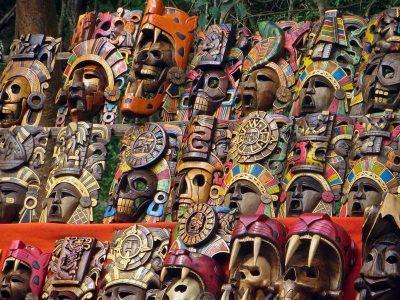 Wooden masks, Uxmal, Mexico.